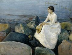 """Summer Night (Lingering on the Beach)"", 1889, by Edvard Munch (1863-1944)."