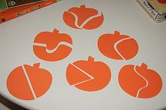 pumpkin puzzle - any shape could be made into similar repetitive puzzles.  Great idea for lapbooks