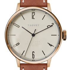 SVT-CN38 (white/tan) watch by TSOVET. Available at Dezeen Watch Store: www.dezeenwatchstore.com