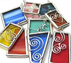 Stained glass pendants.