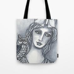 Goddess of Wisdom Tote Bag .... Visit my society6 shop and check out some new products with my artwork. Link: https://society6.com/elenisart  And this Friday you get  FREE SHIPPING on Everything with Code FRIYAY  Start: Friday, 7/20/18 @ 12:00am PT  End: Friday, 7/20/18 @ 11:59pm PT