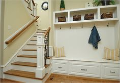 Let these mudroom entryway ideas welcome you home. Instantly tidy up and organize your hallway or entryway with industrial mudroom entryway. Entryway Bench Storage, Entry Bench, Stair Storage, Bench With Storage, Door Bench, Storage Spaces, Storage Ideas, Shoe Storage, Entryway Ideas