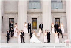Bold and elegant http://nathanieledmunds.com #wedding #party #couple #bride #groom #stairs #pillars
