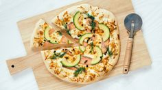 Pizza with Salmon, Avocado and Apetina Cream Cheese