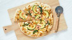 Pizza with Salmon, Avocado and Apetina Cream Cheese