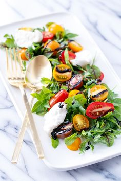 So Long Summer Salad (Heirloom Tomato and Burrata with Spicy Greens)