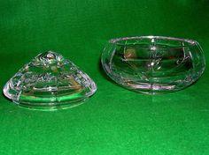 STUART CUT CRYSTAL GLASS LIDDED POT BOWL MODERN ETCHED TRINKET DISH FASHIONABLE | eBay
