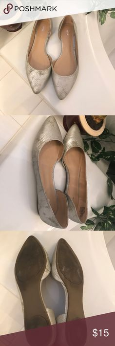 Silver metallic flats Metallic flats with snake print. Shoes are designed to look worn which make them really cool. Apt. 9 Shoes Flats & Loafers