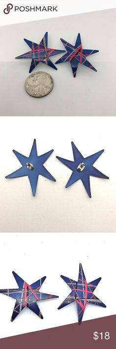 """Vtg 1980s Fluorescent Stars Jem Pierced Earrings Authentic 1980's Jem and the Holograms style Pierced Earrings Metal Lightweight Probably Aluminum or Alloy  Enamel Paint Royal Blue with Fluorescent/Day-Glow Pink Gray and Black  Nice big 2"""" stars I know they're of the period because I had some just like in the 80's Vintage Jewelry Earrings"""