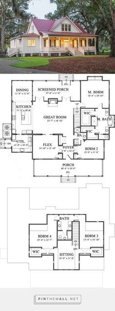 ft Southern Living House Plan < The post 3208 sq. ft Southern Living House Plan 2019 appeared first on House ideas. Dream House Plans, Modern House Plans, My Dream Home, Dream Homes, One Floor House Plans, Simple Home Plans, Large House Plans, Four Bedroom House Plans, Barn Homes Floor Plans