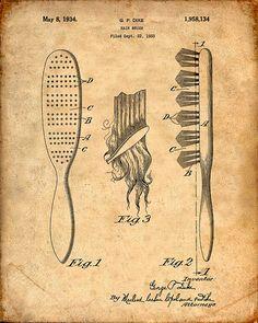 Patent Print of a Hair Brush Patent Art Print by VisualDesign