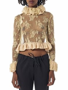 ANNE SOFIE MADSEN - Lace Ruffled Blouse - AW16-101 PRISCILLA BEIGE - H. Lorenzo