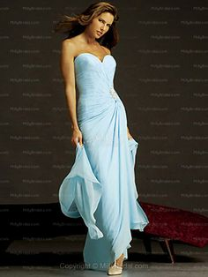 Sheath/Column Sweetheart Chiffon Ankle-length Blue Beading Evening Dress