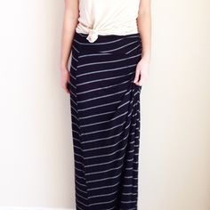 | new | striped maxi skirt offers welcome new with tag size large black and grey striped maxi skirt with ruching on waist and side slit. •971290•  instagram: @xomandysue bobeau Skirts Maxi