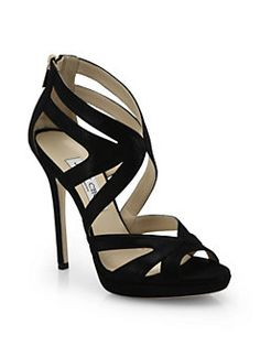 41318c28b20 Jimmy Choo - Collar Shimmer Suede Platform Sandals Black High Heel Sandals
