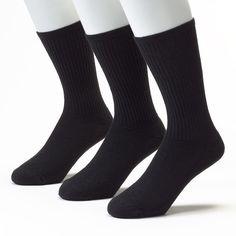 Men's Jockey 3-pk. Sport Performance Crew Socks, Size: 10-13, Black