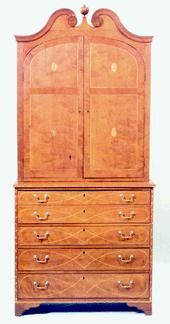 """Federal cherry inlaid desk & bookcase  from Kentucky. Published in an article on Kentucky furniture in """"The Magazine Antiques"""", the eagle & trailing vine inlaid piece is inscribed with the name of George Carlyle. Carlyle was a Revolutionary War soldier in Virginia who, by the Federal era, had moved to Woodford County, Kentucky."""" Documentation at the Museum of Early Southern Decorative Arts in Winston-Salem, N.C., by Southern furniture experts Brad Rauschenberg & Frank Horton."""