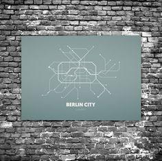 Berlin City C4 - Acrylic Glass Art Subway Maps (U-Bahn-Karte, Acrylglas, Plexiglas)