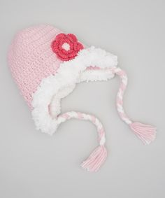 Look at this Pink Powder Puff Earflap Beanie on #zulily today!