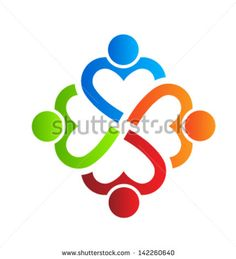 Team Heart 4 design element Vector. Group of People