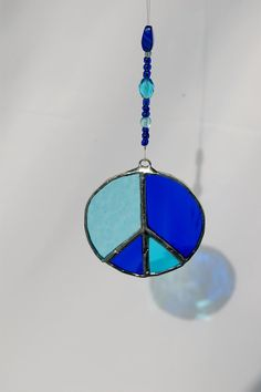 Peace Sign Sun Catcher with Hand-Beaded Hanger, Stained Glass