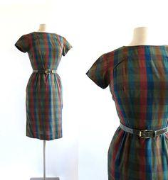 1950s Quick Study plaid dress with belt, by Sue Brett