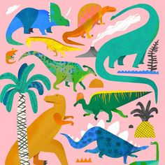 Crop of the dinosaur print, with the full image on my website. I'm pretty sure this will end up as a poster print. Kids 's