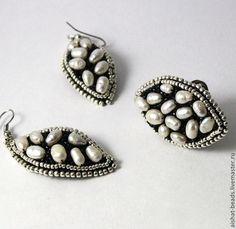 Купить Роскошь жемчуга Комплект - серьги с жемчугом, кольцо с жемчугом, Вышивка бисером, бисер