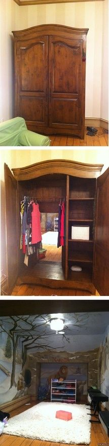 A secret door in this wardrobe leads to a Narnia-esque playroom. (From It has Narnia in it. Narnia is always good. Cool Stuff, Decor, Sweet Home, Kids Room, Playroom, House, Secret Rooms, Home Decor, Dream Room