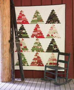 """Tree Farm Quilt by Gina Martin. Christmas tree quilt using my new Christmas fabric collection """"Tole Christmas"""" for Moda Fabrics."""