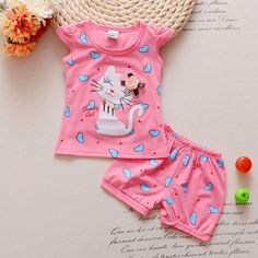 BibiCola Infant clothes toddler children summer baby girls clothing sets cartoon cat love clothes sets girls summer set - Kid Shop Global - Kids & Baby Shop Online - baby & kids clothing, toys for baby & kid Baby Girl Romper, Baby Girl Dresses, Baby Dress, Baby Girls, Baby Girl Fashion, Kids Fashion, Toddler Dress, Toddler Girl, Trendy Baby Girl Clothes