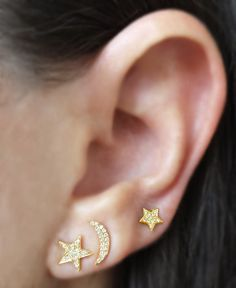 cd955ccd2 Stunning 14K Gold & Diamond Moon and Star Earrings from The EarStylist  by Jo Nayor