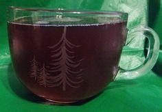 Starbucks Christmas Tree Coffee Mug 2014 Clear Etched Glass Winter Holiday 17 Oz #Starbucks