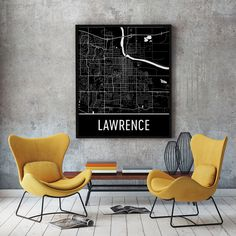 **MADE IN THE USA** You'll love this amazing Lawrence Art Print! This Lawrence city street map shows all of the winding streets of Lawrence. This will fit any decor, and also make great gifts. If you