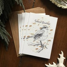 Illustrated Robin Christmas Card Set  Pack of 4