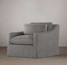 Belgian Classic Slope Arm Slipcovered Swivel Chair