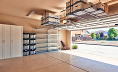 Guide to garage storage ideas. Get home improvement ideas & popular garage storage options for cabinets, tool chests, bikes, overhead, shelving & DIY storage Garage Ceiling Storage, Overhead Garage Storage, Garage Storage Solutions, Diy Garage Storage, Garage Shelving, Garage Shelf, Garage Organization, Storage Ideas, Organization Ideas