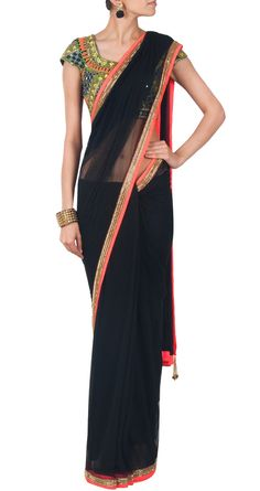 Arpita Mehta Black & Neon Orange Saree with Gold Border http://arpitamehta.in/