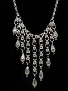 Items similar to Silver Byzantine Half Moon Dangle Chainmaille Necklace on Etsy Wire Wrapped Jewelry, Wire Jewelry, Jewelry Crafts, Beaded Jewelry, Jewelery, Silver Jewelry, Custom Jewelry, Vintage Jewelry, Handmade Jewelry