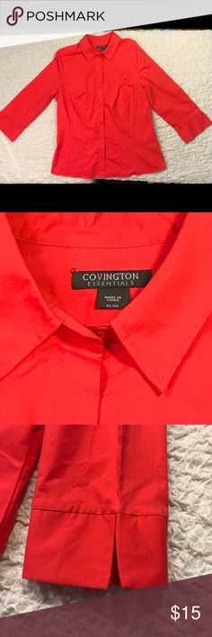 "Covington Ladies Button Down Blouse XL Red This top is in very Good Condition 3/4 Sleeve Solid Red Cotton Polyester Spandex Bust 44"" Length 26"" Covington Tops Blouses"