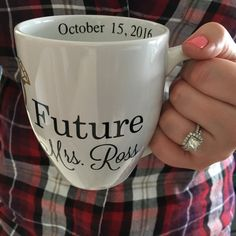 Need a mug for the newly engaged? This mug is perfect to show off that new bling and fiancé status! Get it in the brides wedding colors, or as