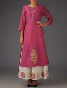 Fuschia - Golden Khari Block Printed Chanderi Kurta with Lining Set of 2