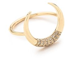 Jacquie Aiche Crescent Ring (11.870 ARS) ❤ liked on Polyvore featuring jewelry, rings, jacquie aiche rings, 14 karat gold jewelry, jacquie aiche jewelry, pave jewelry and 14k jewelry