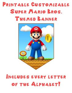 Super Mario Themed Birthday Banner