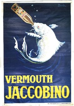 Dorit vermouth Jaccobino. Vintage poster of wine