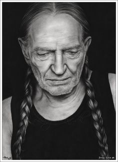 """""""Willie Nelson"""" by Zindy on http://Shadowness.com/Zindy #willie #nelson #pencil #drawing #illustration #portrait #art"""