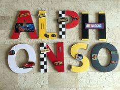 Race Car Wall Letters, Nascar Custom Wall Letters, Nascar Wall At, Big Boy… Personalized Wall Decor, Personalized Photo Gifts, Boys Room Decor, Boy Room, Kids Room, Disney Cars Room, Race Car Room, Race Car Themes, Nascar Race Cars