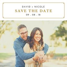Elegant Gold Border Photo Save the Date Announcement Save The Date Invitations, Announcement, Dating, Elegant, Couple Photos, Gold, Classy, Couple Shots, Quotes