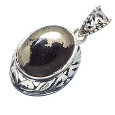 """Pyrite In Magnetite (healer's Gold) 925 Sterling Silver Pendant 1 1/4"""" PD532130"""