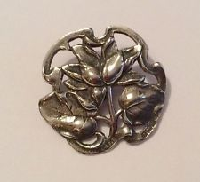 English hallmarked sterling silver Art Nouveau button, 1902